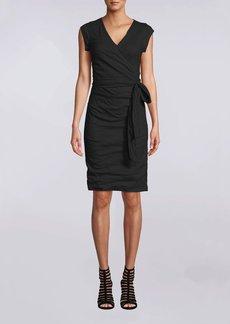 Nicole Miller Solid Cotton Metal Cap Sleeve Dress
