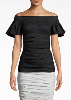 Nicole Miller Solid Cotton Metal Off The Shoulder Top