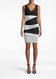 Nicole Miller Solid Cotton Metal V-neck Tuck Dress
