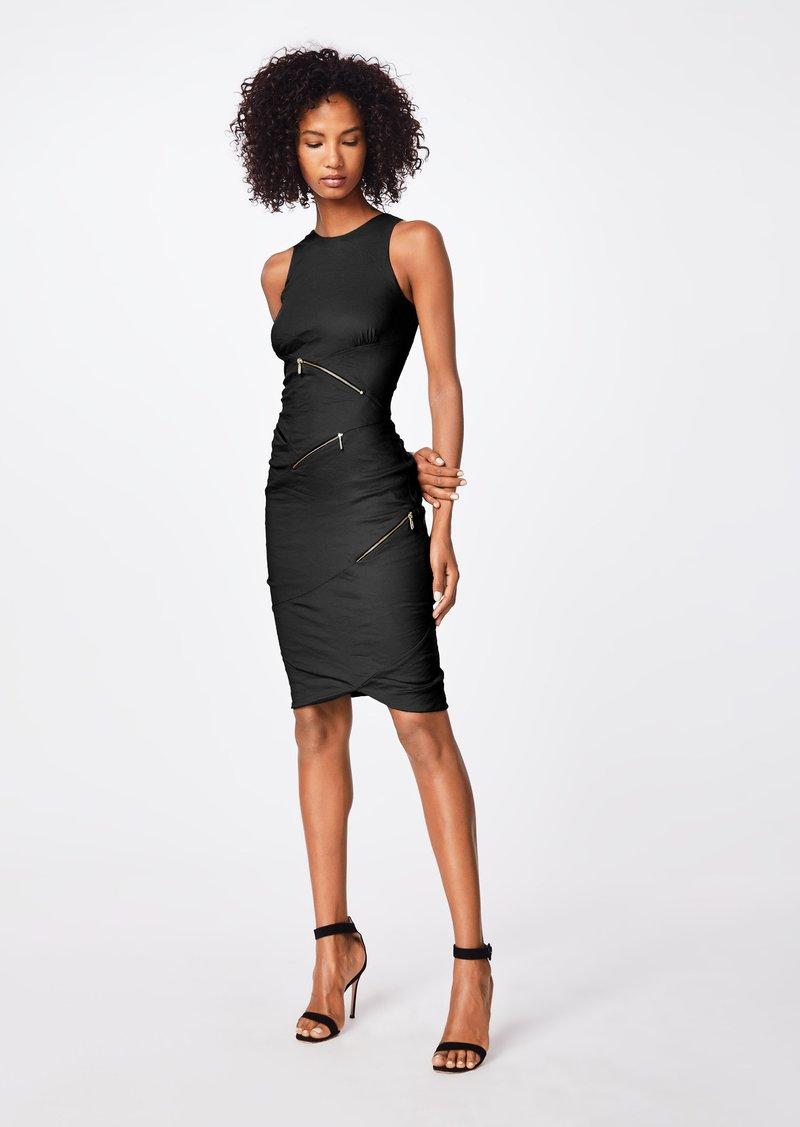 Nicole Miller Solid Cotton Metal Zipper Dress