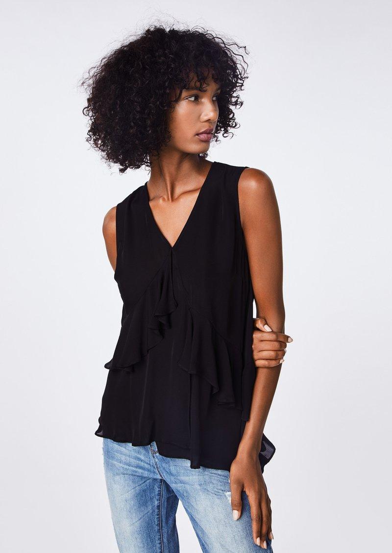 Nicole Miller Solid Silk Blend Asymmetrical Ruffle Top
