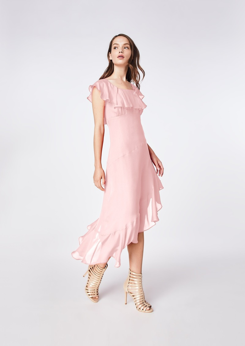 Nicole Miller Solid Silk Blend Flutter Sleeve Dress