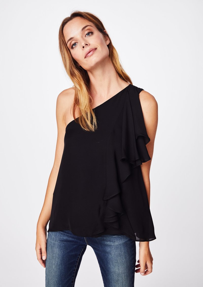 Nicole Miller Solid Silk Blend One Shoulder Ruffle Blouse