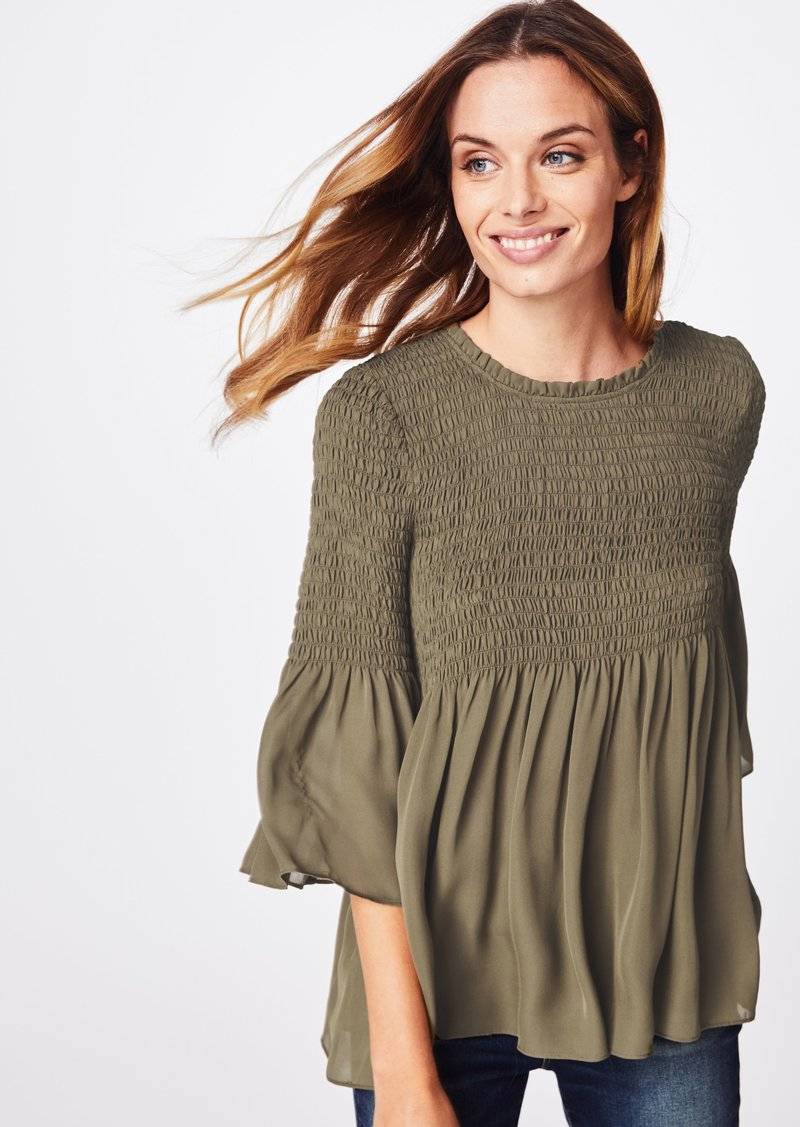 Nicole Miller Solid Silk Blend Smocked Bell Sleeve Top