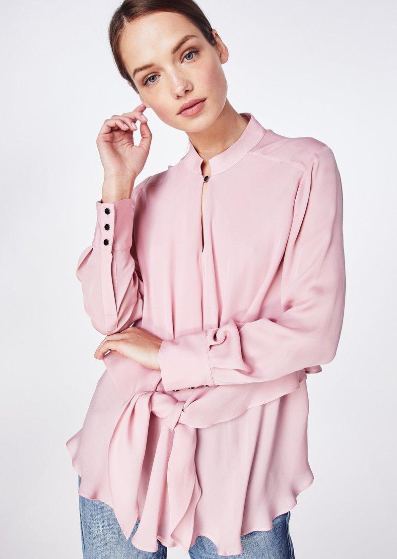 Nicole Miller Solid Silk Blend Tie Blouse