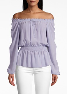 Nicole Miller Solid Silk Long Sleeve Smocked Blouse