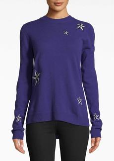 Nicole Miller Star Cashmere Crew Neck Sweater