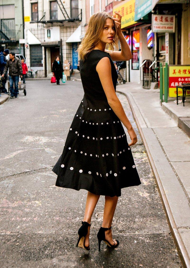 Nicole Miller Stretch Linen Ballet Neck Flare Dress
