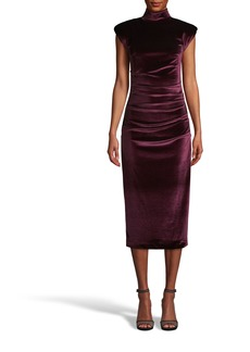 Nicole Miller Stretch Velvet Mock Neck Midi Dress