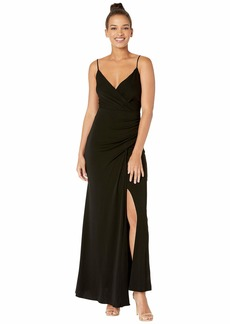 Nicole Miller Stretchy Matte Jersey Drape Gown with Slit