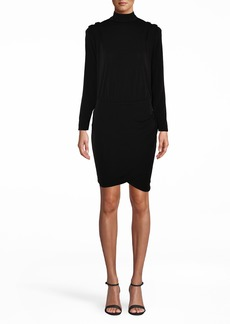 Nicole Miller Stretchy Matte Jersey Mini Dress With Pleated Shou