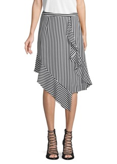 Nicole Miller Stripe-Print Draped Skirt