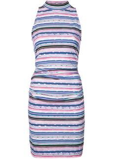 Nicole Miller striped halterneck fitted dress