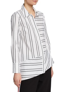 Nicole Miller Striped Menswear Asymmetric Top