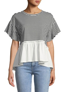 Nicole Miller Striped Ruffle Short-Sleeve Tee