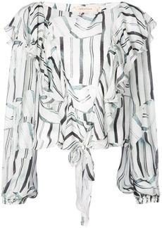 Nicole Miller striped ruffled longsleeved blouse