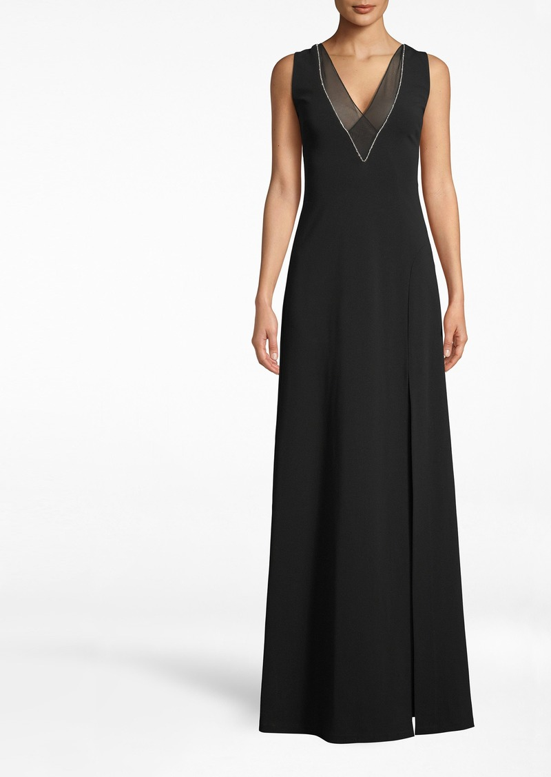 Nicole Miller Structured Heavy Jersey V-neck Slit Gown
