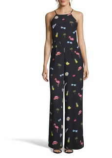 Nicole Miller Summer-Print High-Neck Jumpsuit