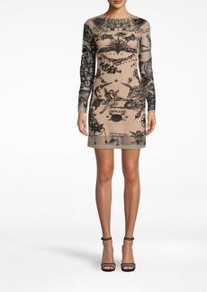 Nicole Miller Tattoo Mesh Long Sleeve Mini Dress
