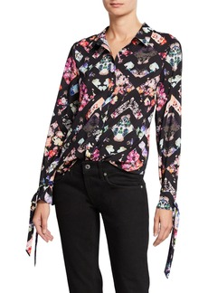 Nicole Miller Tie-Cuff Floral-Print Button-Down Blouse