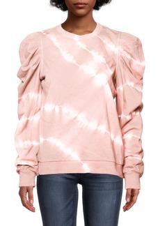 Nicole Miller Tie Dye Puff Sleeve Crew Neck Sweatshirt