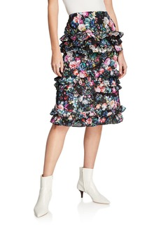 Nicole Miller Tiered-Ruffle A-Line Skirt