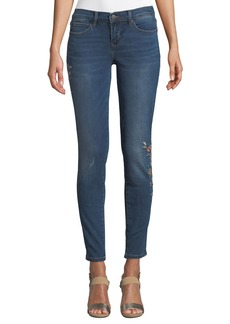 Nicole Miller Tribeca Mid-Rise Embroidered Skinny Jeans