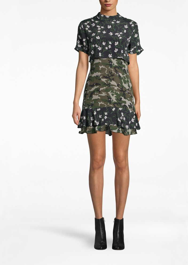 Nicole Miller Tulip Camouflage Mock Neck Ruffle Mini Dress