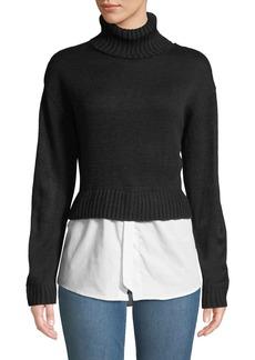 Nicole Miller Turtleneck Combo Sweater w/ Shirting Hem