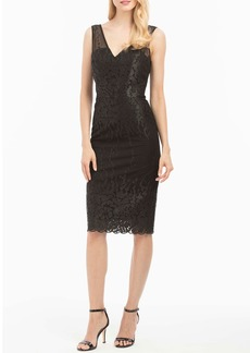Nicole Miller V-Neck Fitted Lace Cocktail Dress