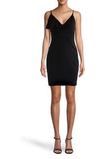Nicole Miller V-neck Ruffle Mini Dress