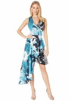 Nicole Miller Watercolor Bloom Asymmetrical Dress