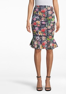 Nicole Miller Watercolor Floral Cotton Metal Ruffle Skirt