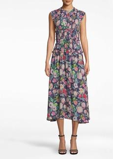 Nicole Miller Watercolor Floral Smocked Midi Dress