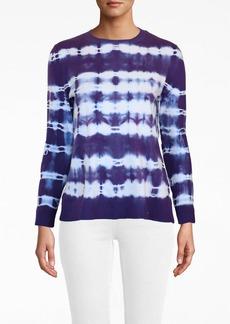 Nicole Miller Watercolor Tie Dye Crew Neck Sweater
