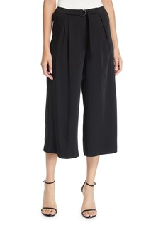 Nicole Miller Wide-Leg Cropped Pants with Buckle