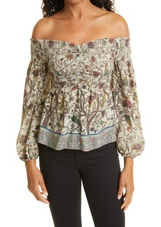 Women's Nicole Miller Mixed Print Off The Shoulder Georgette Blouse