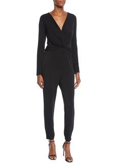 Nicole Miller Wrapped-Front Matte-Jersey Jumpsuit