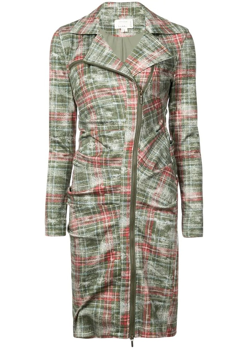 Nicole Miller zipped checked dress