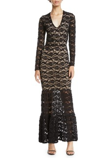 Nightcap Dixie Lace Long-Sleeve Martini Gown