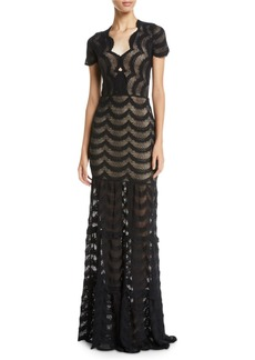 Nightcap Fiesta Fan Lace Cap-Sleeve Gown