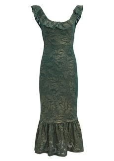 Nightcap Metallic Ruffle Hem Midi Dress