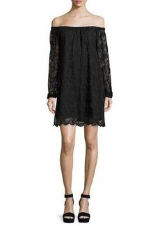 Nightcap Clothing Dentelle Lace Off-the-Shoulder Shift Dress