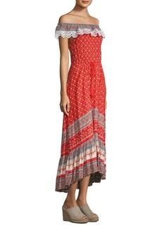 Nightcap Poppy Off-The-Shoulder Gown