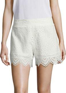 Nightcap Scalloped Cotton Eyelet Shorts