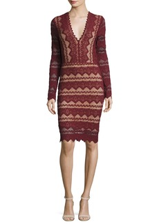 Nightcap Sierra Lace V-Neck Long-Sleeve Dress