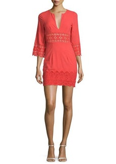 Nightcap Clothing Tulum 3/4-Sleeve Lace-Inset Dress