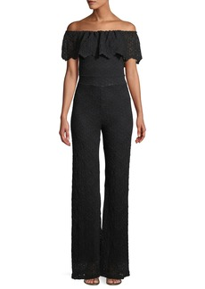 Nightcap Positano Off-the-shoulder Jumpsuit in Diamond Lace