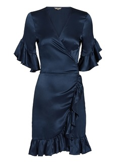 Nightcap Silk Ruffle Wrap Mini Dress