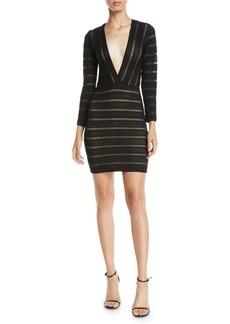 Nightcap V-Neck Striped Lace Mini Dress